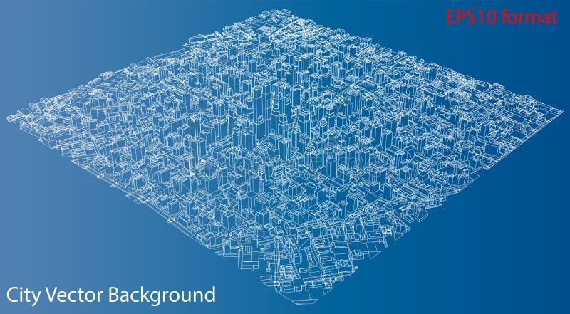 Draad-kader Stad, Blauwdrukstijl Vector vector illustratie