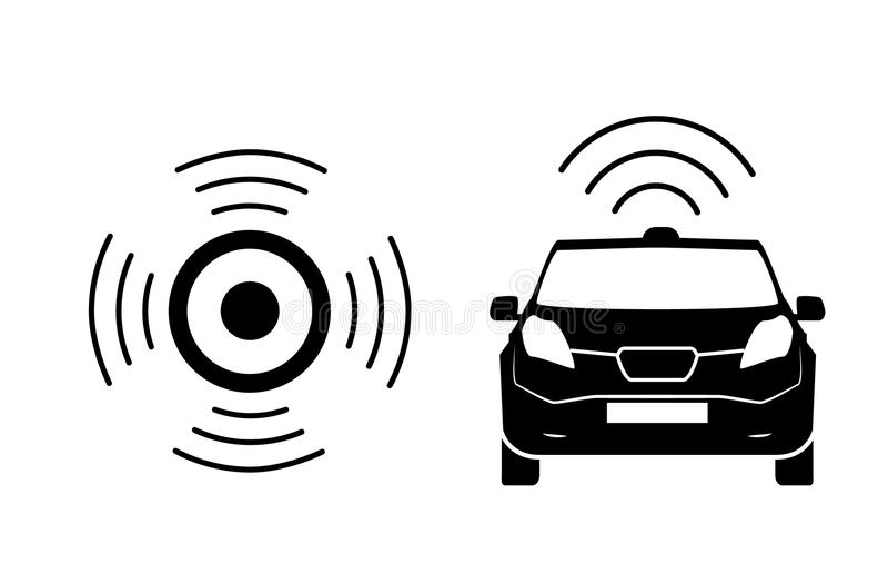 Draadloos auto het laden postsymbool Elektrisch auto het laden geïsoleerd pictogram Elektrisch voertuig elektrische auto het lade vector illustratie