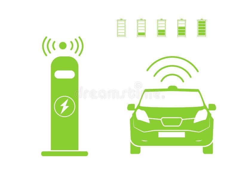 Draadloos auto het laden postsymbool Elektrisch auto het laden geïsoleerd pictogram Elektrisch voertuig Groen elektrisch auto het vector illustratie