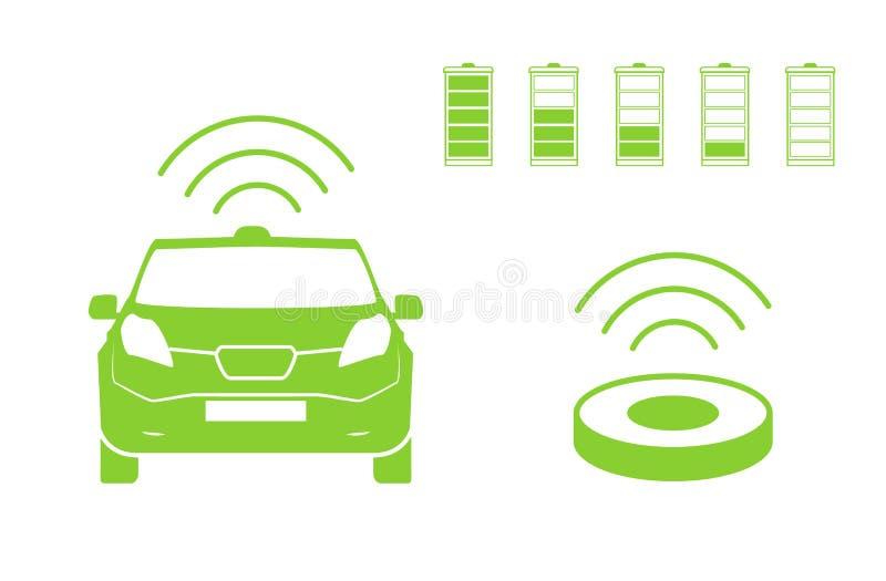 Draadloos auto het laden postsymbool Elektrisch auto het laden geïsoleerd pictogram Elektrisch voertuig Groen elektrisch auto het royalty-vrije illustratie