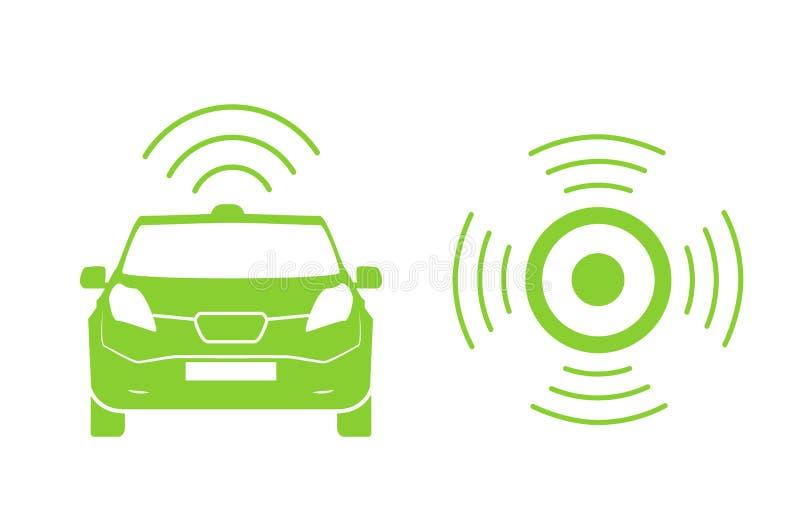 Draadloos auto het laden postsymbool Elektrisch auto het laden geïsoleerd pictogram Elektrisch voertuig Groen elektrisch auto het stock illustratie