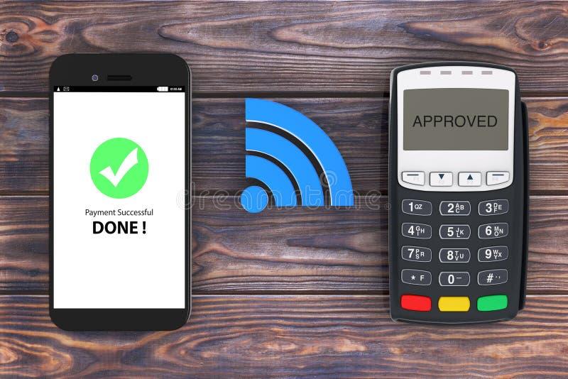 Draadloos betalingsconcept Mobiele Telefoon met POS Terminal en Wir vector illustratie