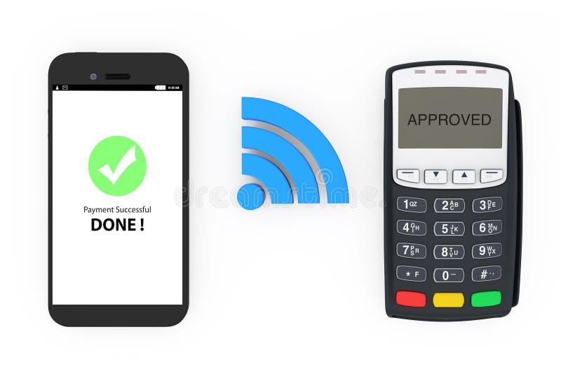 Draadloos betalingsconcept Mobiele Telefoon met POS Terminal en Wir royalty-vrije illustratie