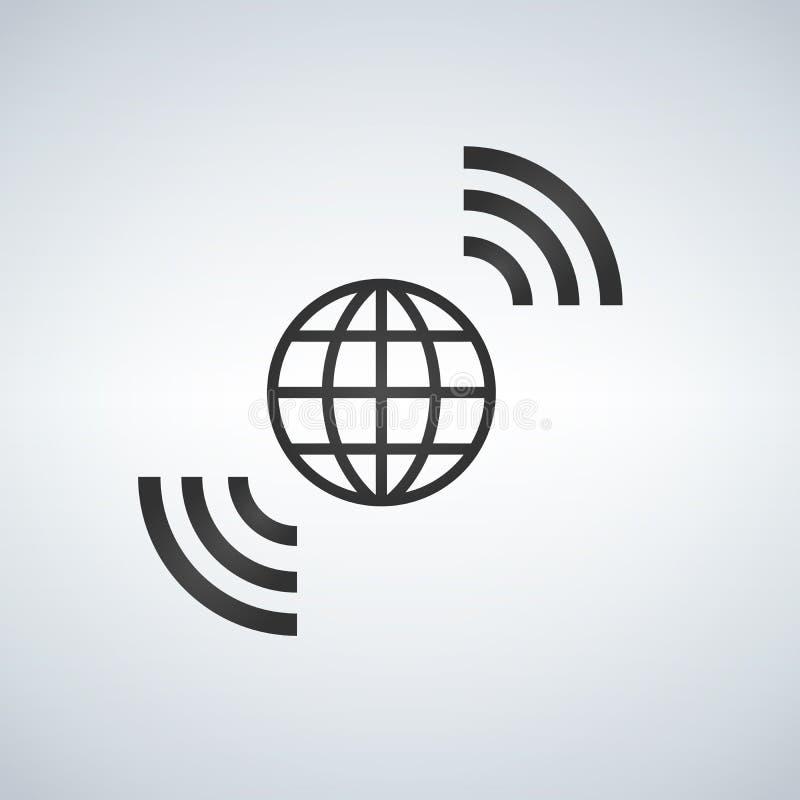 Draadloos de Aarde breedbandsymbool van wereldwifi van internettoegang wereldwijd stock illustratie