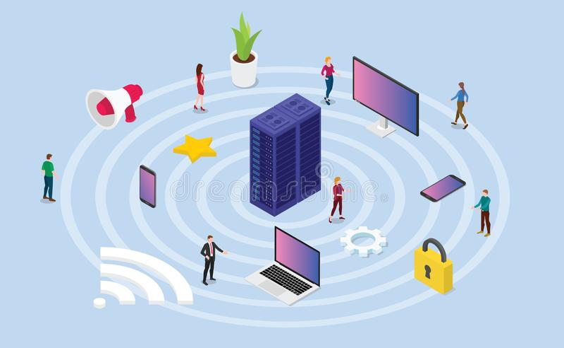 Draadloos netwerkconcept met diverse apparatentechnologie en het symbool van pictograminternet met isometrische of isometry 3d st royalty-vrije illustratie