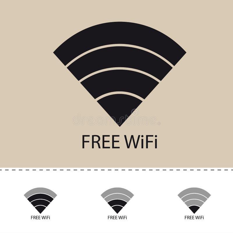 Draadloos Wlan Internet het Signaal Vlak Pictogram van WiFi voor Apps of Websites royalty-vrije illustratie
