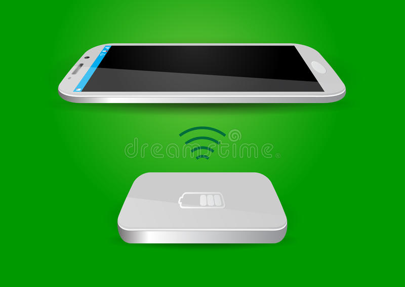 Draadloze Batterijlader en Smartphone of Tablet - Vectorillus vector illustratie
