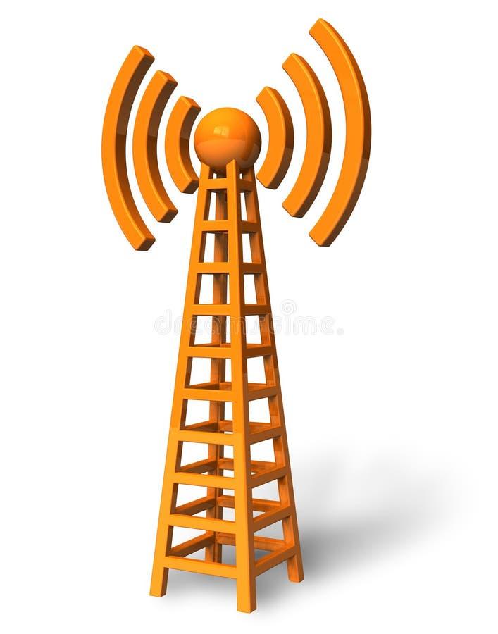 Draadloze communicatie toren stock illustratie
