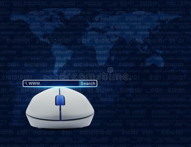 Draadloze computermuis met onderzoeks www knoop over computerbak vector illustratie