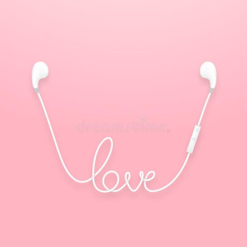 Draadloze de oortelefoons en de verre, earbud type witte kleur en de liefdetekst maakten van kabel stock illustratie