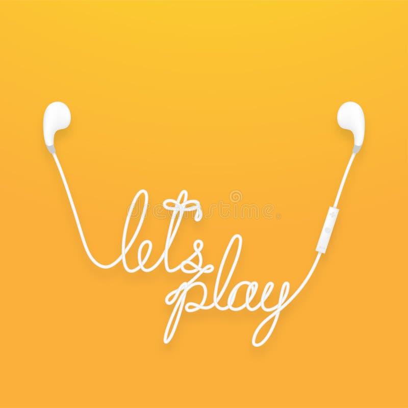 Draadloze de oortelefoons en de verre, earbud type witte die kleur en laten het speltekst van ` s van kabel wordt gemaakt stock illustratie