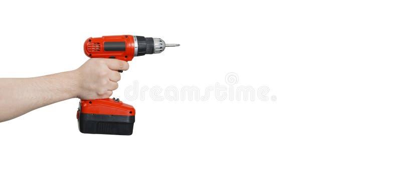 Draadloze Elektrische Boor of Schroevedraaier ter beschikking met het Knippen van Klopje stock afbeeldingen