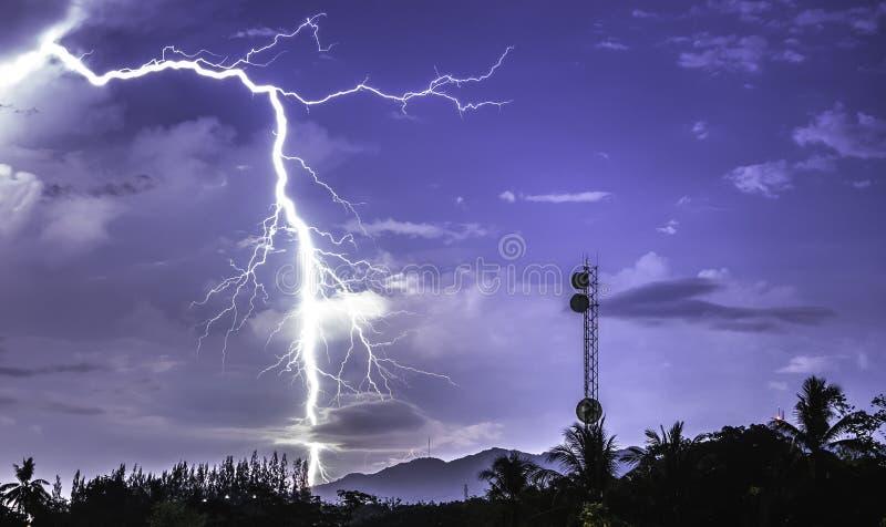 Draadloze hoge snelheid zoals bliksemmacht blauwe hemel en de witte zwarte achtergrond van de wolkenkleur royalty-vrije stock afbeelding