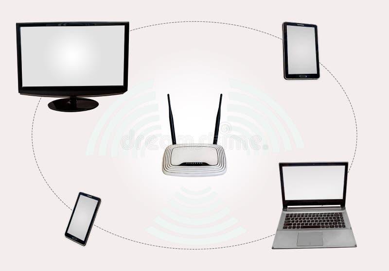 Draadloze Internet-connectiviteitsstreek met de monitorlaptop van de routerdesktop lusje slimme die telefoon in wit wordt geïsole royalty-vrije stock afbeelding