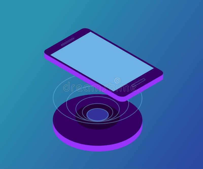 Draadloze lader, smartphone 1 royalty-vrije illustratie
