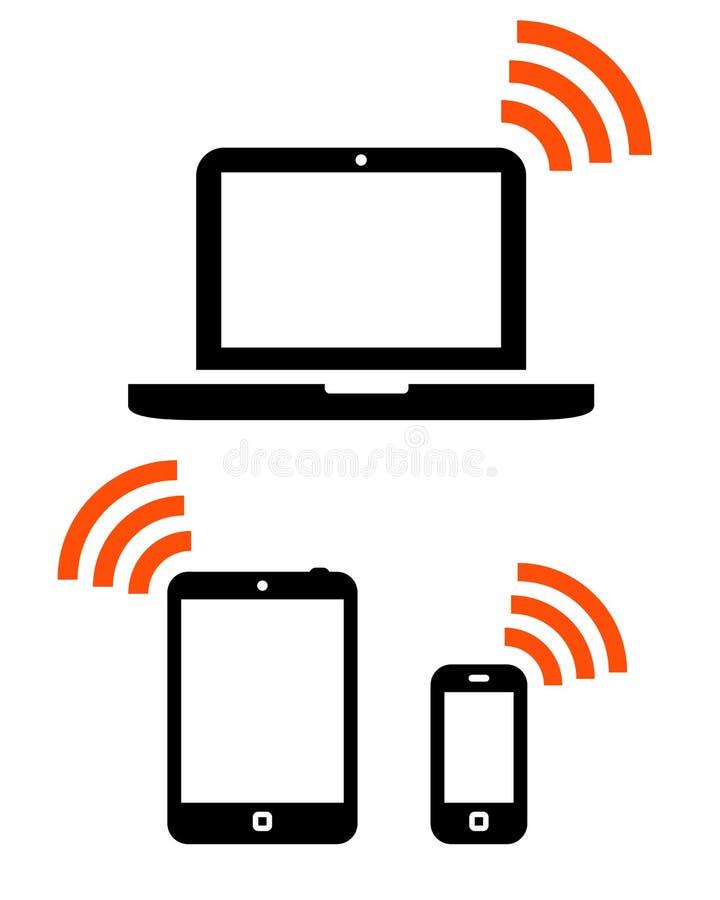 Draadloze mobiele geplaatste apparaten stock illustratie
