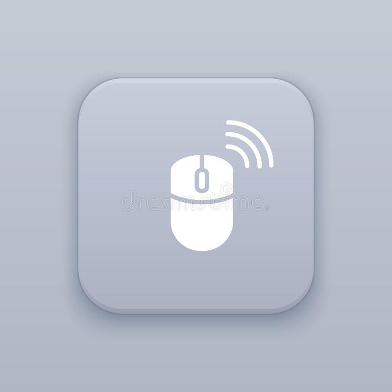 Draadloze muis grijze vectorknoop met wit pictogram stock illustratie