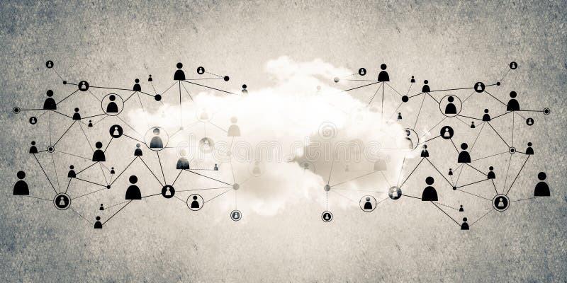 Draadloze technologieën voor verbinding en het delen van gegevens als abstrac stock illustratie