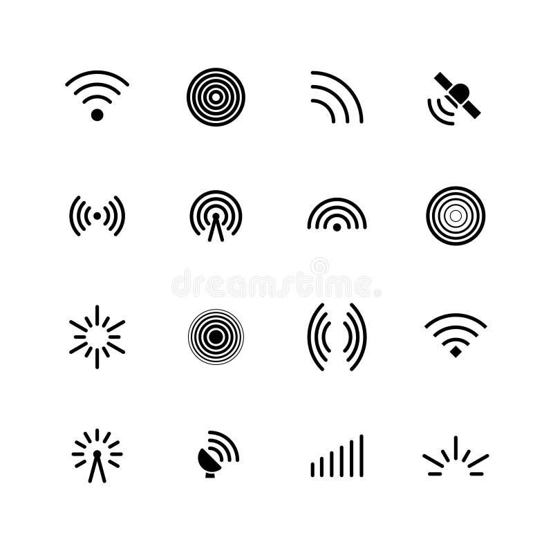 Draadloze wifi en radiosignalenpictogrammen Antenne, mobiel signaal en golf geïsoleerde vectorsymbolen royalty-vrije illustratie