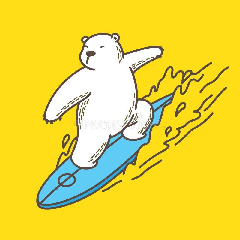 Draag beeldverhaal van het de illustratiekarakter van de ijsbeerbranding het oceaan vector royalty-vrije illustratie