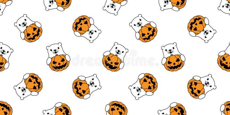 Draag de naadloze ijsbeer van Halloween van de patroon vectorpompoen het teddy geïsoleerde beeldverhaal van de pandasjaal van de  vector illustratie