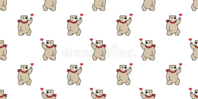 Draag de naadloze panda van het de valentijnskaarthart van de patroon ijsbeer vector de teddy achtergrond van de sjaalbeeldverhaa royalty-vrije illustratie