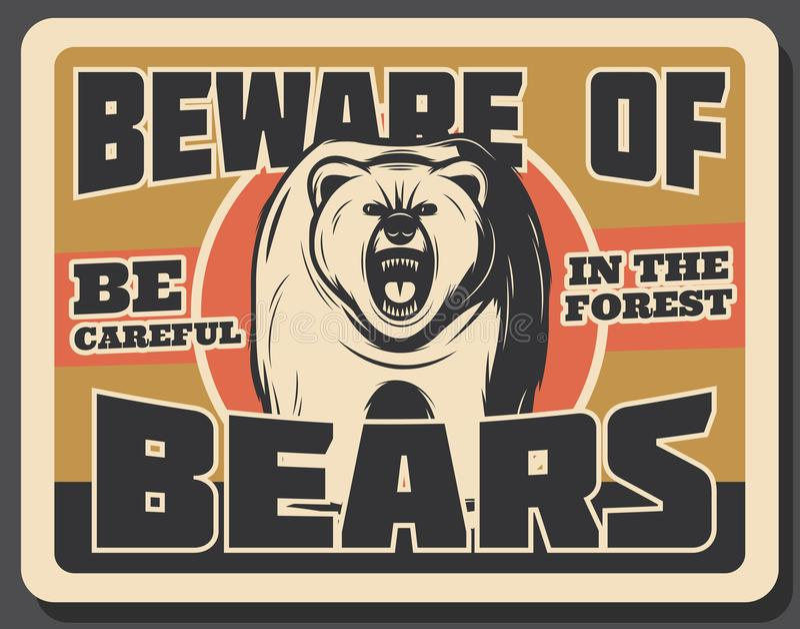 Draag dierlijke uitstekende banner van het ontwerp van de de jachtsport stock illustratie