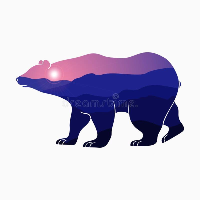 Draag en aard dubbele blootstelling - dierlijk silhouet met berglandschap en zon Moderne in illustratie voor embleem stock illustratie
