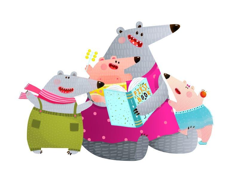 Draag het Boekmoeder van de Familielezing met Kinderen vector illustratie