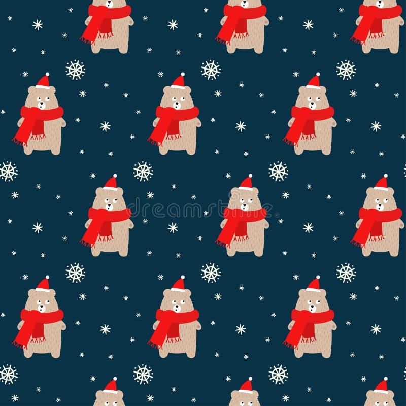 Draag in Kerstmishoed en sjaal met sneeuwvlokken naadloos patroon op blauwe achtergrond royalty-vrije illustratie
