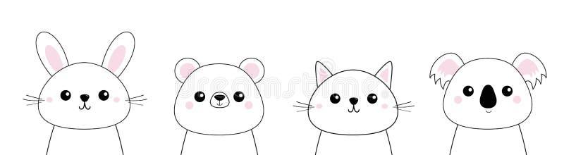 Draag, konijn, hazen, grizzly, koala, hoofd het gezichts vastgestelde lijn van het kattenkatje Krabbel lineaire schets Roze wange stock illustratie