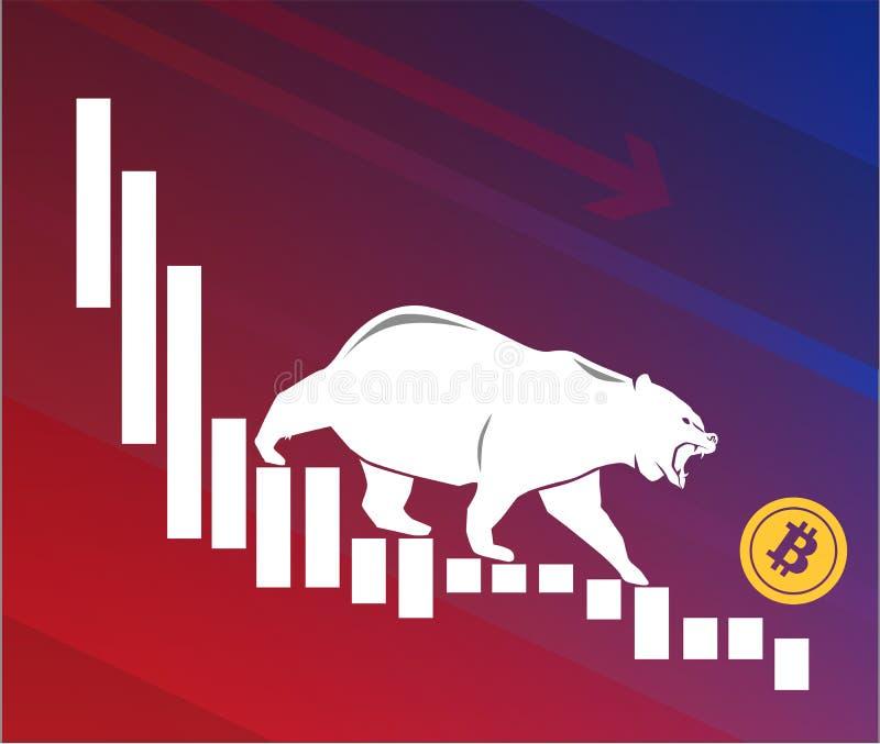 Draag neer bewegingen Bitcoin op grafiek, negatieve cryptocurrencymarkt, rode achtergrond royalty-vrije illustratie