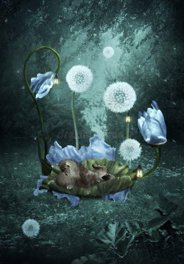 Draag welp in een wieg van bloemen Forest Fairy Tale royalty-vrije stock foto's
