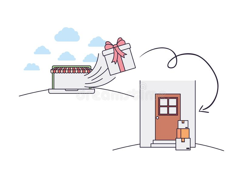 Draagbaar met tent en gift die aan deur komen vector illustratie