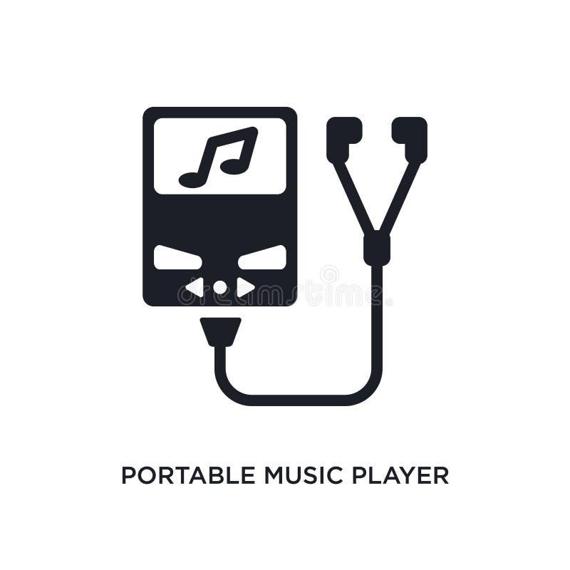 draagbaar muziekspeler geïsoleerd pictogram de eenvoudige elementenillustratie van elektronisch materiaal vult conceptenpictogram stock illustratie