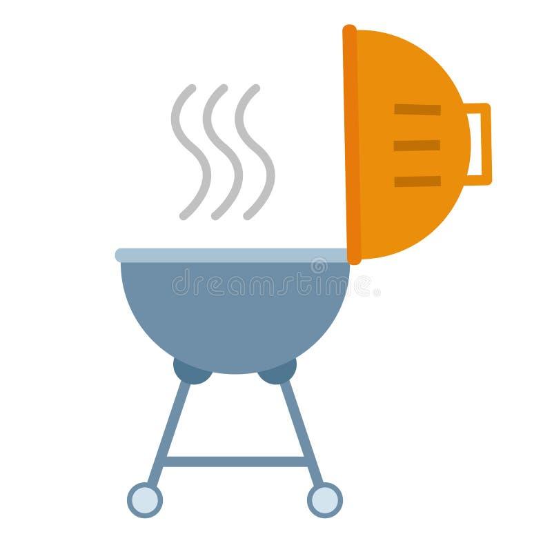 Draagbaar rond barbecue vlak pictogram royalty-vrije illustratie