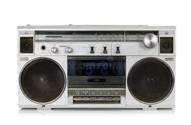 Draagbare uitstekende radiocassetterecorder stock foto