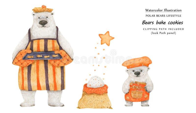 Draagt bakken suikerkoekjes, close-upillustratie royalty-vrije illustratie
