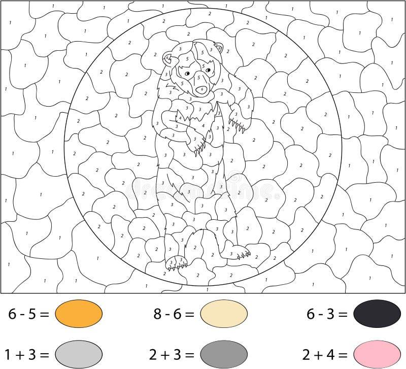 Draagt de beeldverhaal Aziatische zwarte Kleur door aantal onderwijsspel voor royalty-vrije illustratie