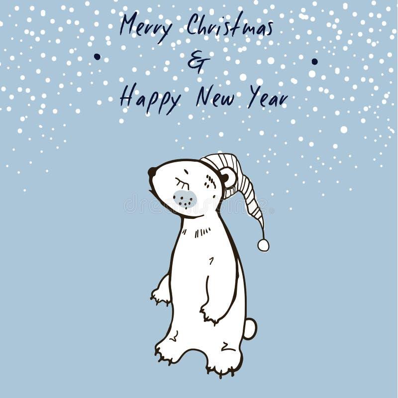 Draagt de hand Geschetste Kaart van de Kerstmisgroet met Leuke Slaperig Vrolijke Kerstmis en Gelukkig Nieuwjaar De winter vectori vector illustratie