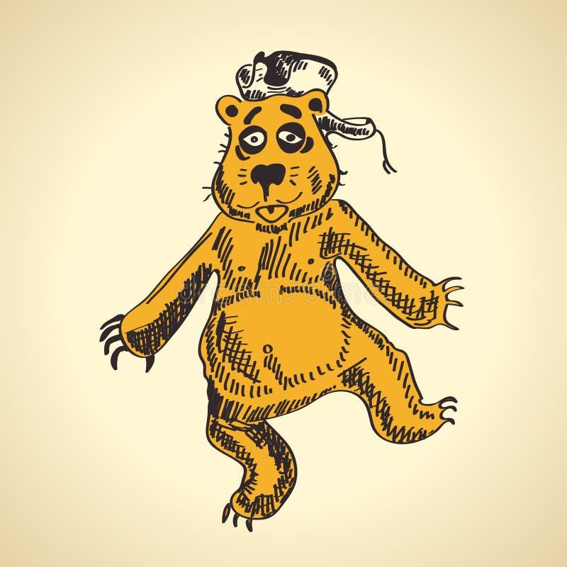 Download Draagt Het Hand Getrokken Beeldverhaal Gedronken Grappig Vector Illustratie - Illustratie bestaande uit zwart, draag: 54088825