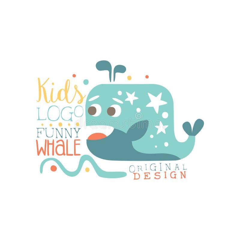 Draagt het originele ontwerp van het jonge geitjesembleem, grappige walvis, het etiket van de babywinkel, manierdruk voor jonge g stock illustratie