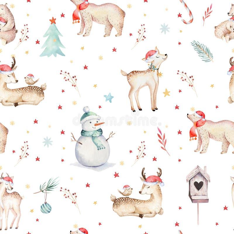 Draagt het waterverf naadloze patroon met leuke baby, sneeuwman, vogel en hertenontwerp van het beeldverhaal het dierlijke portre stock afbeeldingen
