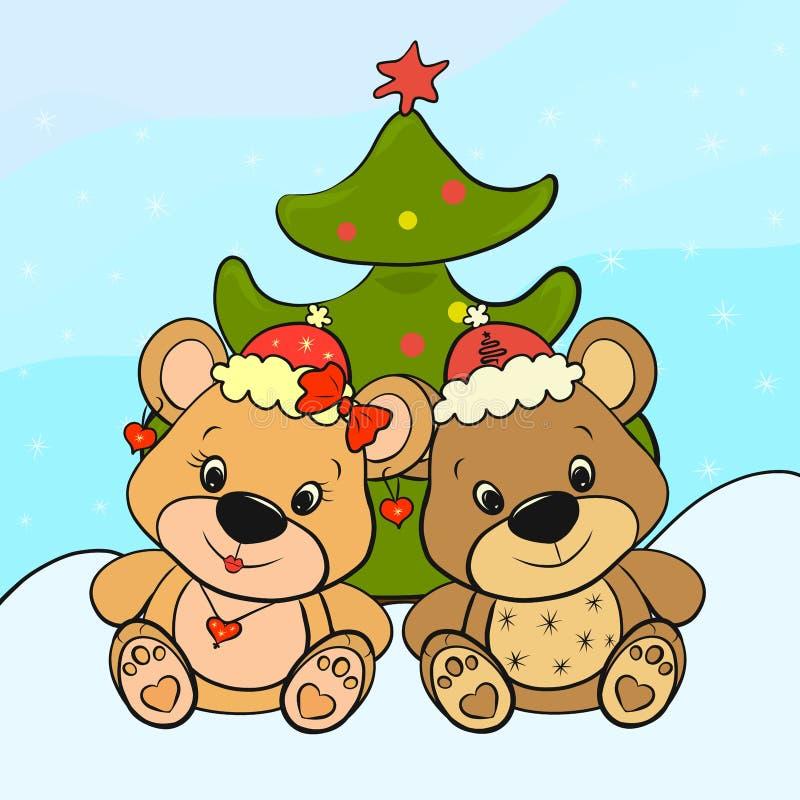 Draagt - jongen en meisje dichtbij de Kerstboom vector illustratie