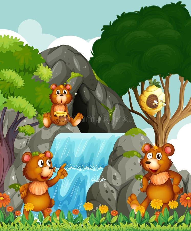 Draagt ontspannend door de waterval royalty-vrije illustratie