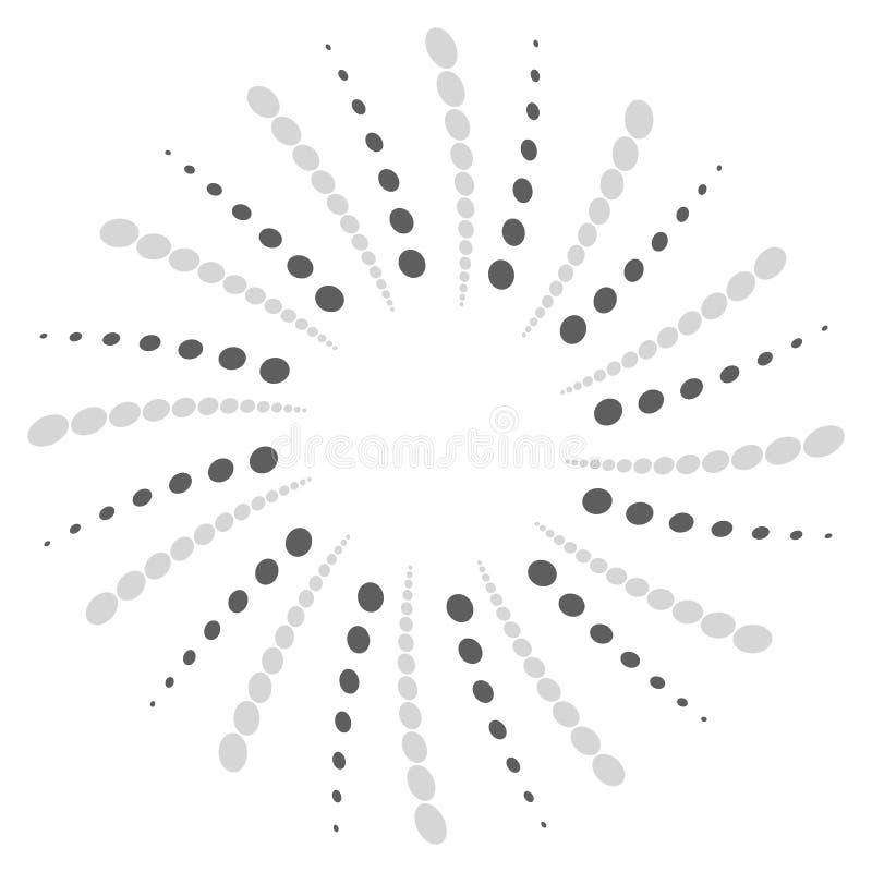 Draai, spiraalvormige vorm met cirkels Roterend gestippeld element Samenvatting stock illustratie