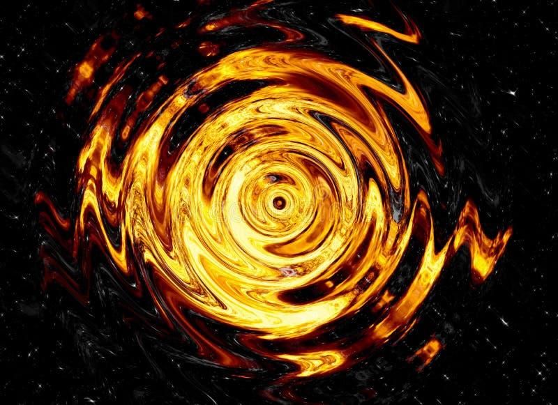 Draai van heldere explosieflits op zwarte achtergronden branduitbarsting stock illustratie