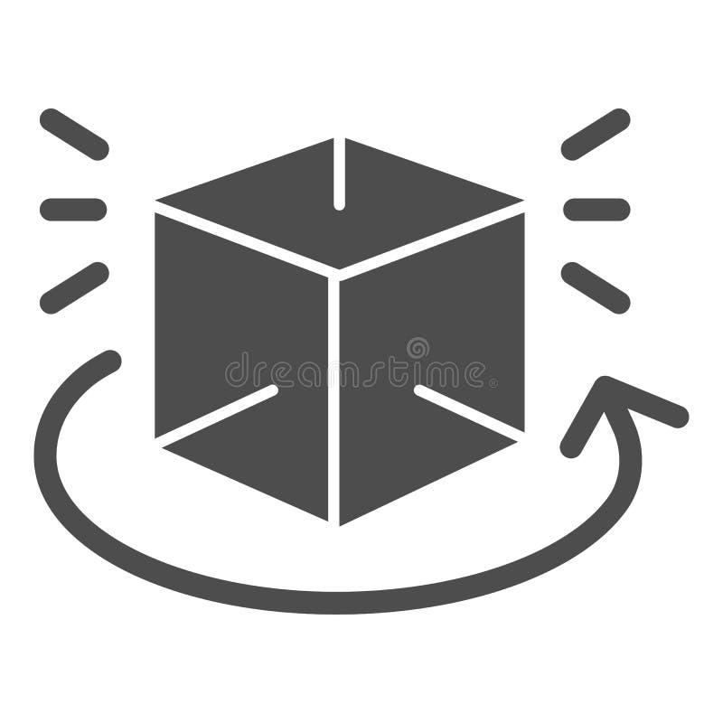 Draaibaar, effen pictogram De kubus 360 graden roteert vectorillustratie die op wit wordt geïsoleerd Geometrische figuurweergave  royalty-vrije illustratie