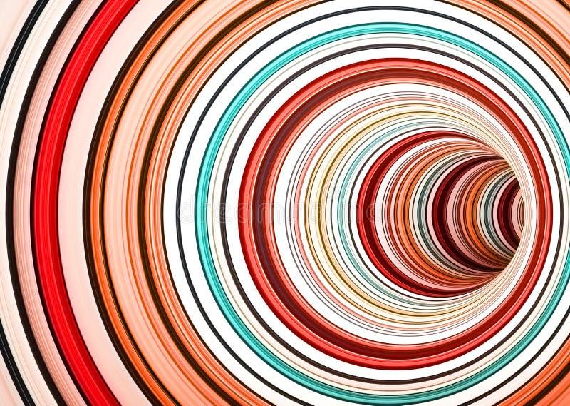 Draaiend tunnel van kleurrijke ringen, vat 3d samen vector illustratie