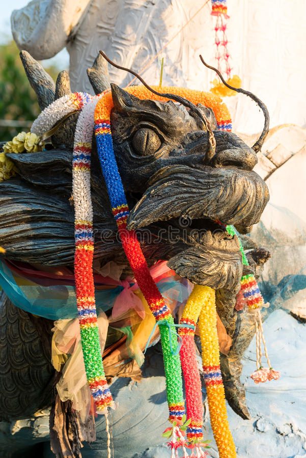 Draak in de Thaise Tempel royalty-vrije stock afbeelding